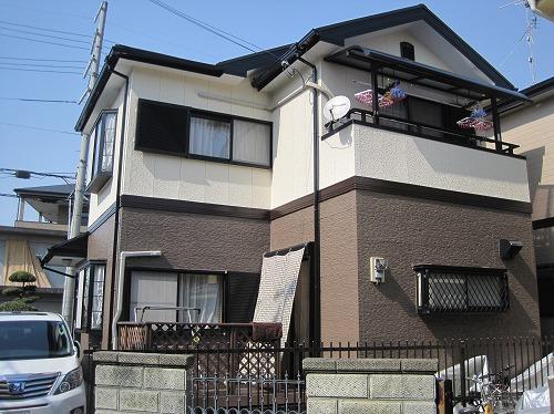 大阪狭山市の外壁塗装の完成(南面)
