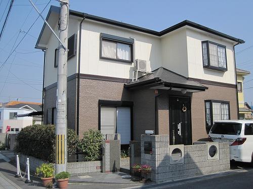 大阪狭山市の外壁塗装の完成(正面)