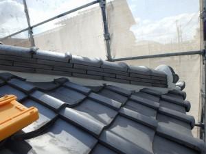 屋根漆喰工事後