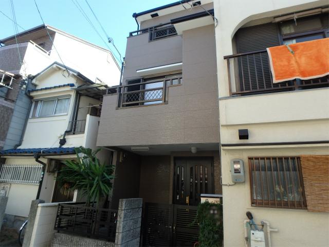 堺市北区の三階建ての窯業系サイディング塗装
