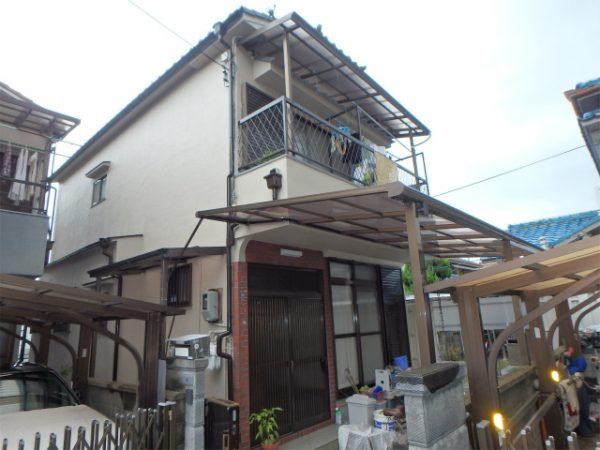 八尾市の塗装工事の家