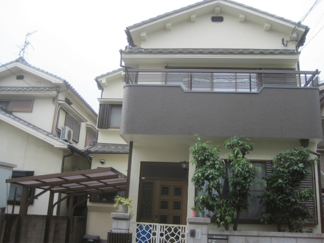 八尾市の戸建住宅の外壁塗装