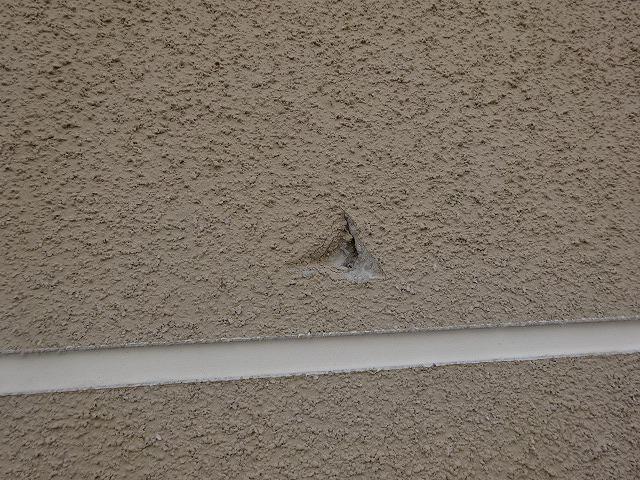 台風で傷ついた外壁