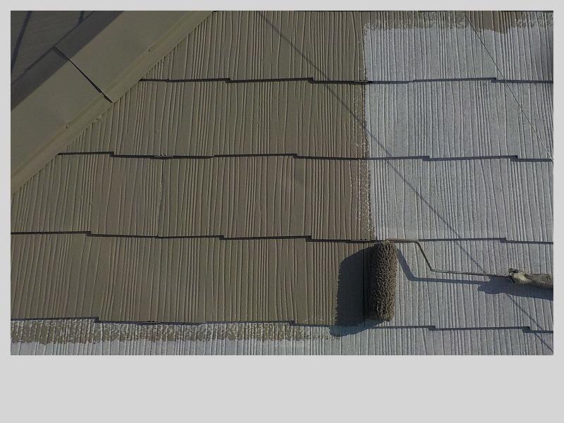 スレート屋根中塗り