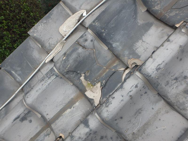 凍て割れした瓦