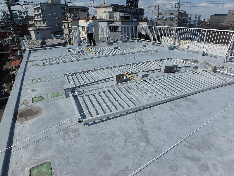 台風被害の屋上
