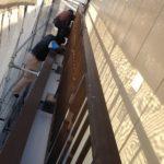 塩ビシート防水のベランダ防水施工中