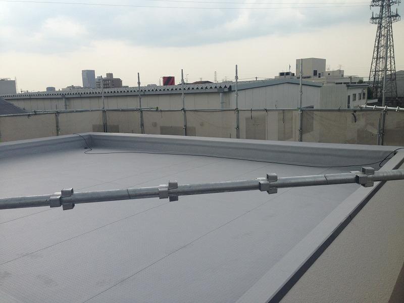 屋上の塩ビシート防水の完成