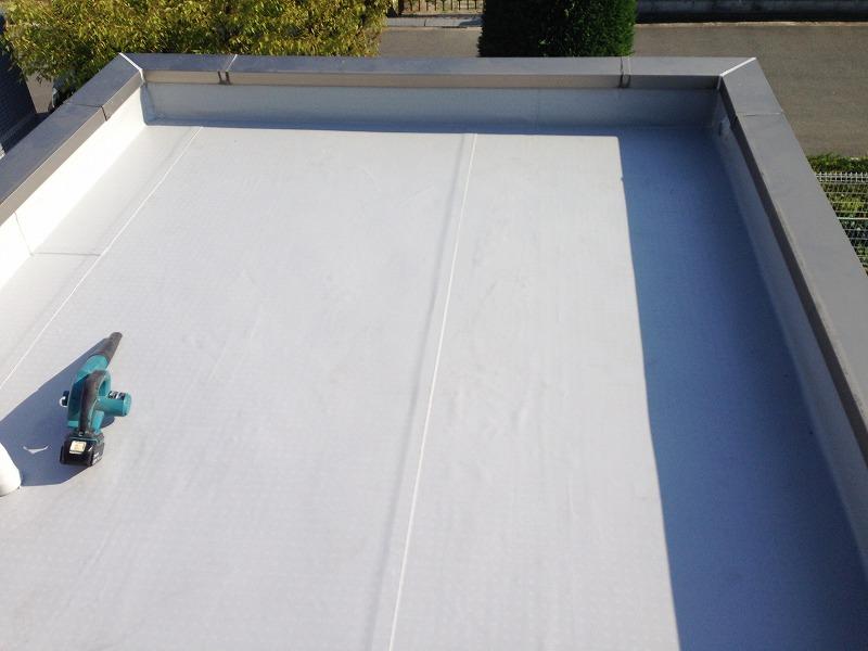 屋上の塩ビシート防水施工後