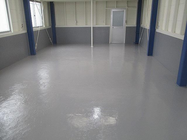 コンクリート床 防塵塗装完了