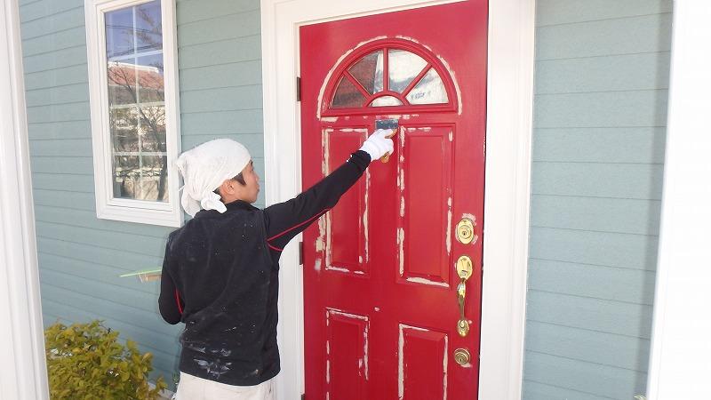玄関塗装前の研磨