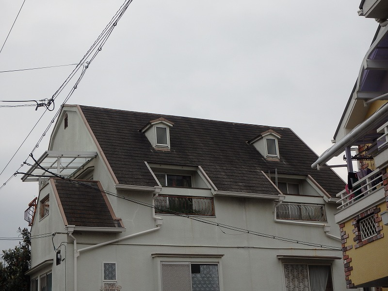 屋根塗装前の屋根全体の様子