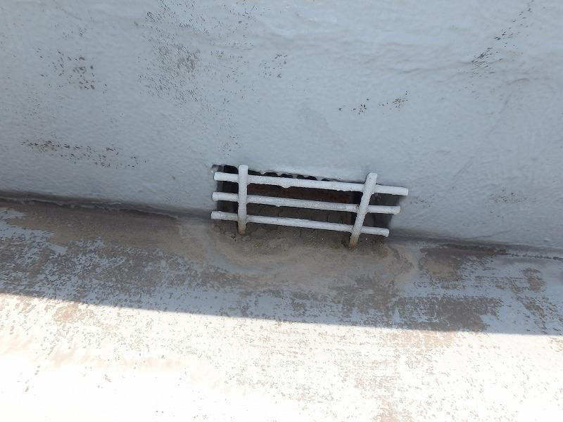 防水層の劣化したドレン