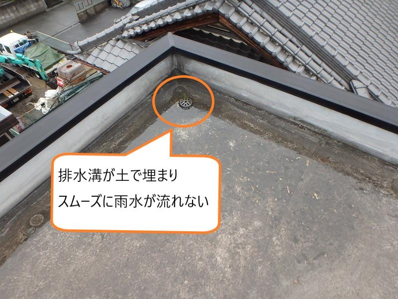 屋上の排水溝のつまり