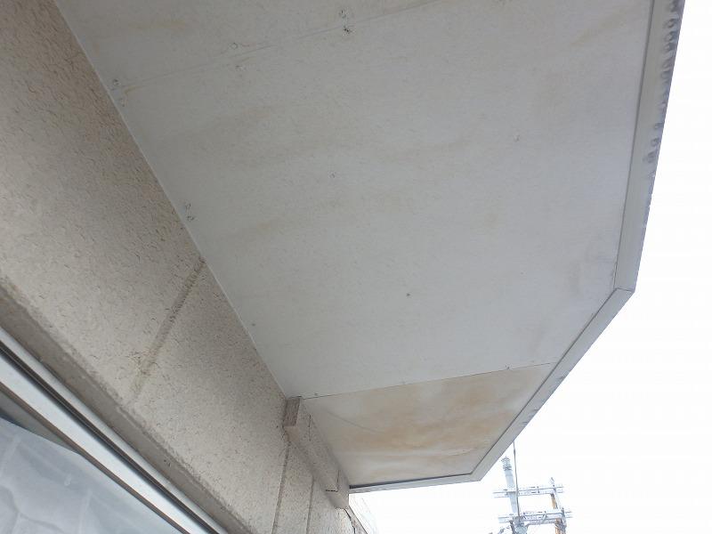 3Fベランダ天井ボード雨漏りシミ