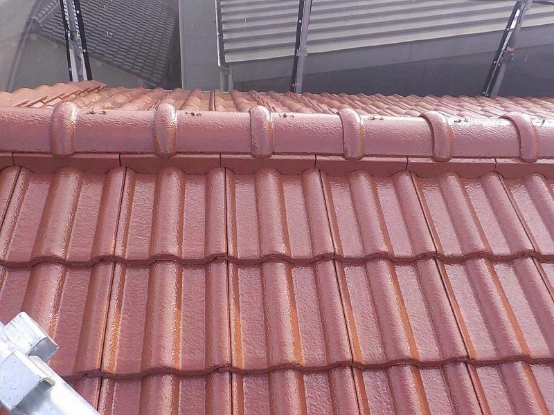 屋根塗装施工後のモニエル瓦