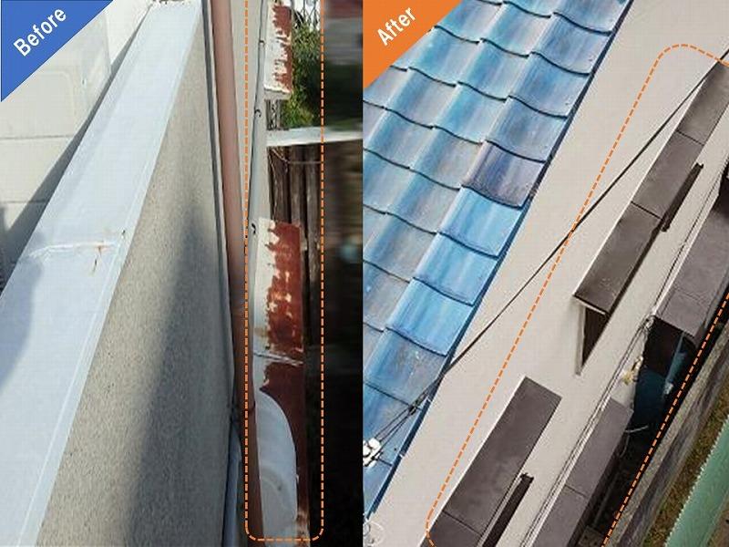 庇の防錆塗装ビフォーアフター