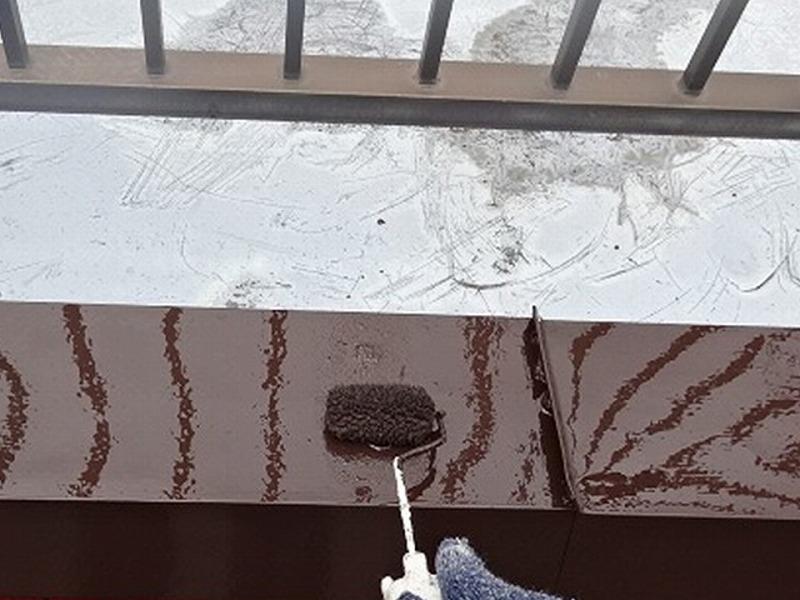 笠木の防錆塗装
