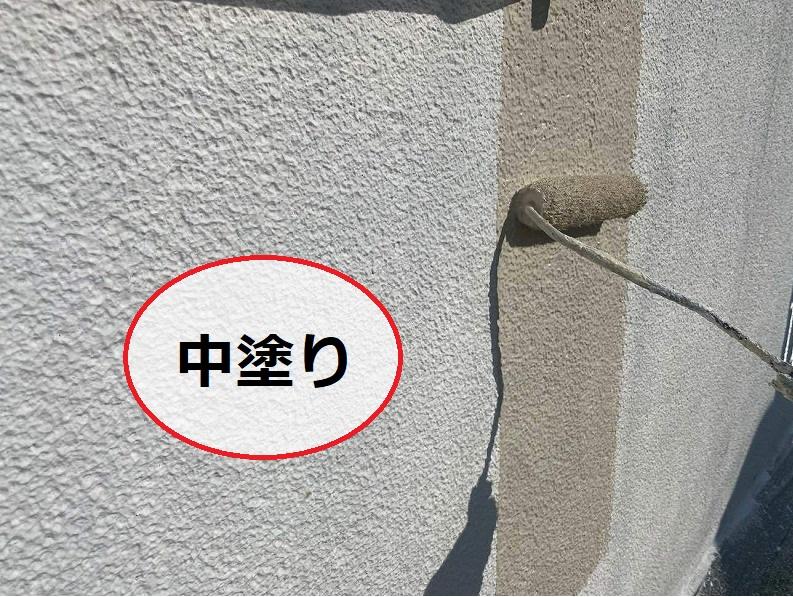 松原市外壁防水工事中塗り