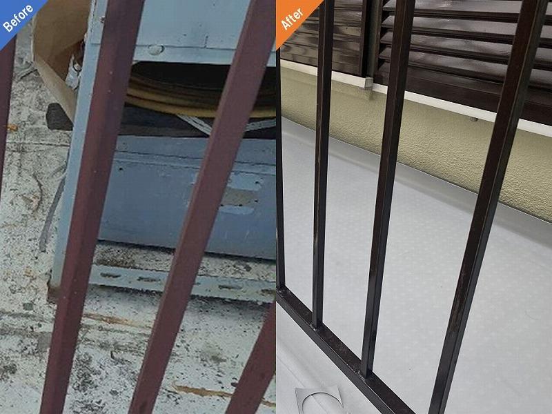 防錆塗装前後の比較