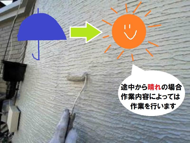 外壁塗装 途中から晴れの場合
