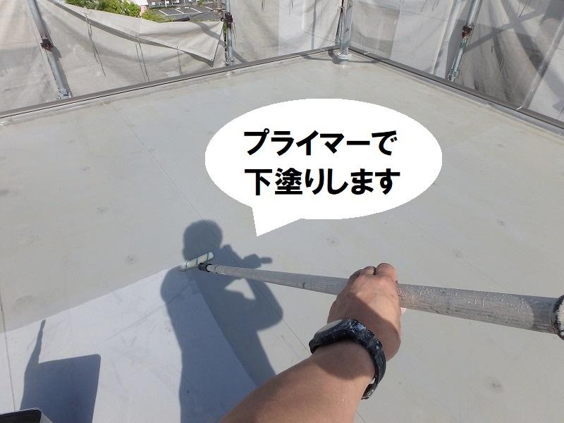 堺市にて遮熱塗料での屋上防水工事 下塗り・プライマー