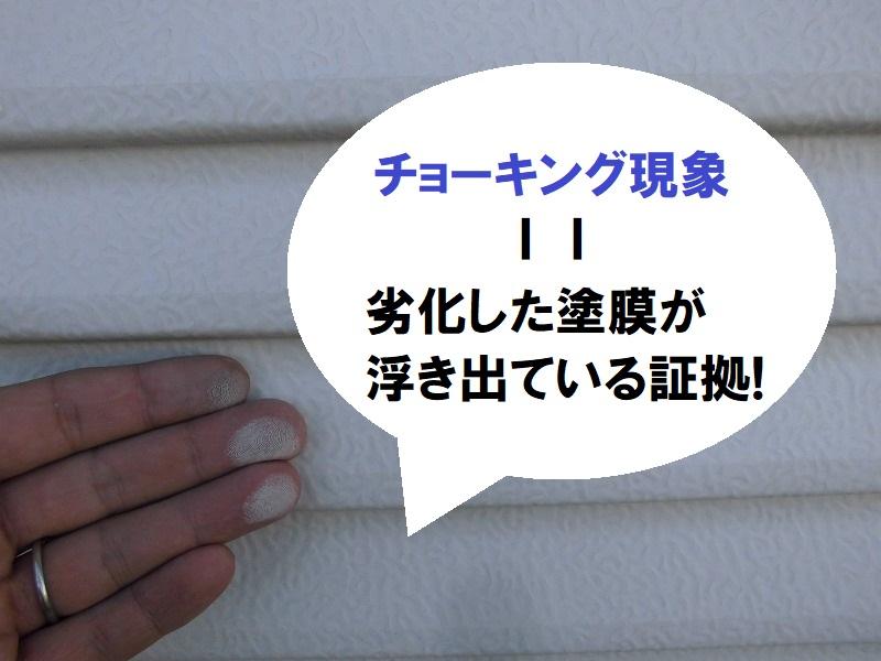 堺市付帯塗装雨戸の劣化を確認 チョーキング現象