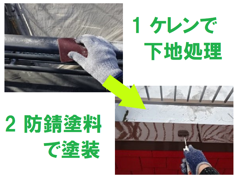 笠木に防錆塗料での塗装メンテナンス