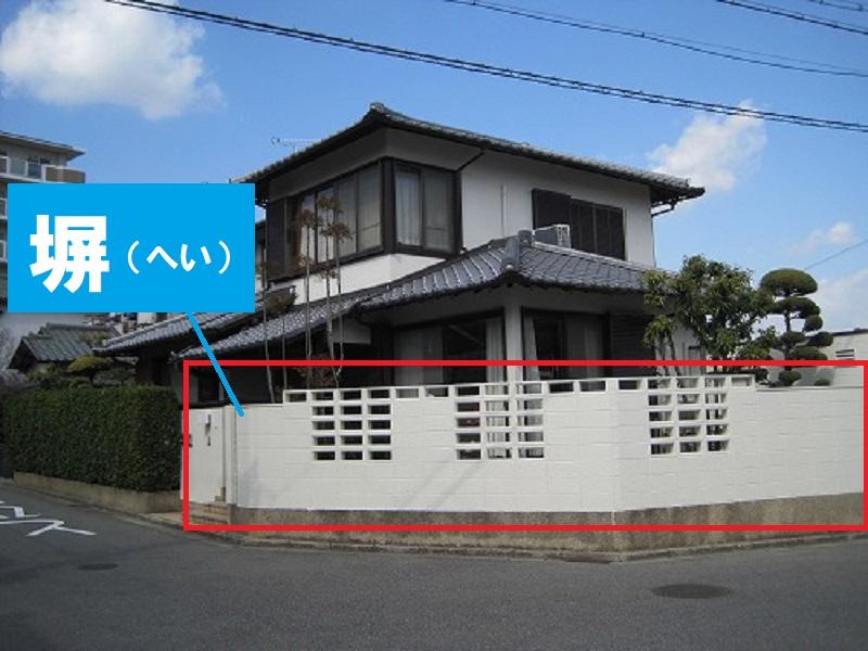 家の部位名称 塀